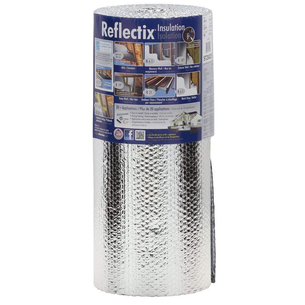Reflectix 24 in. x 25 ft. Double Reflective Insulation with Staple Tab