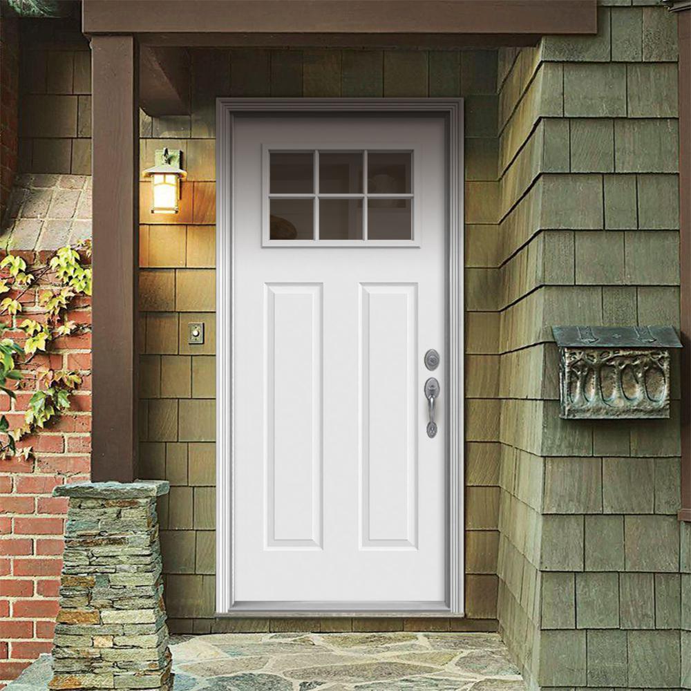 30 in. x 80 in. 6 Lite Craftsman Primed Steel Prehung Left-Hand Inswing Front Door w/Brickmould