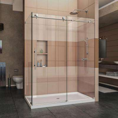 Enigma-X 60.375 in. x 76 in. Frameless Corner Sliding Shower Enclosure in Brushed Stainless Steel with Handle