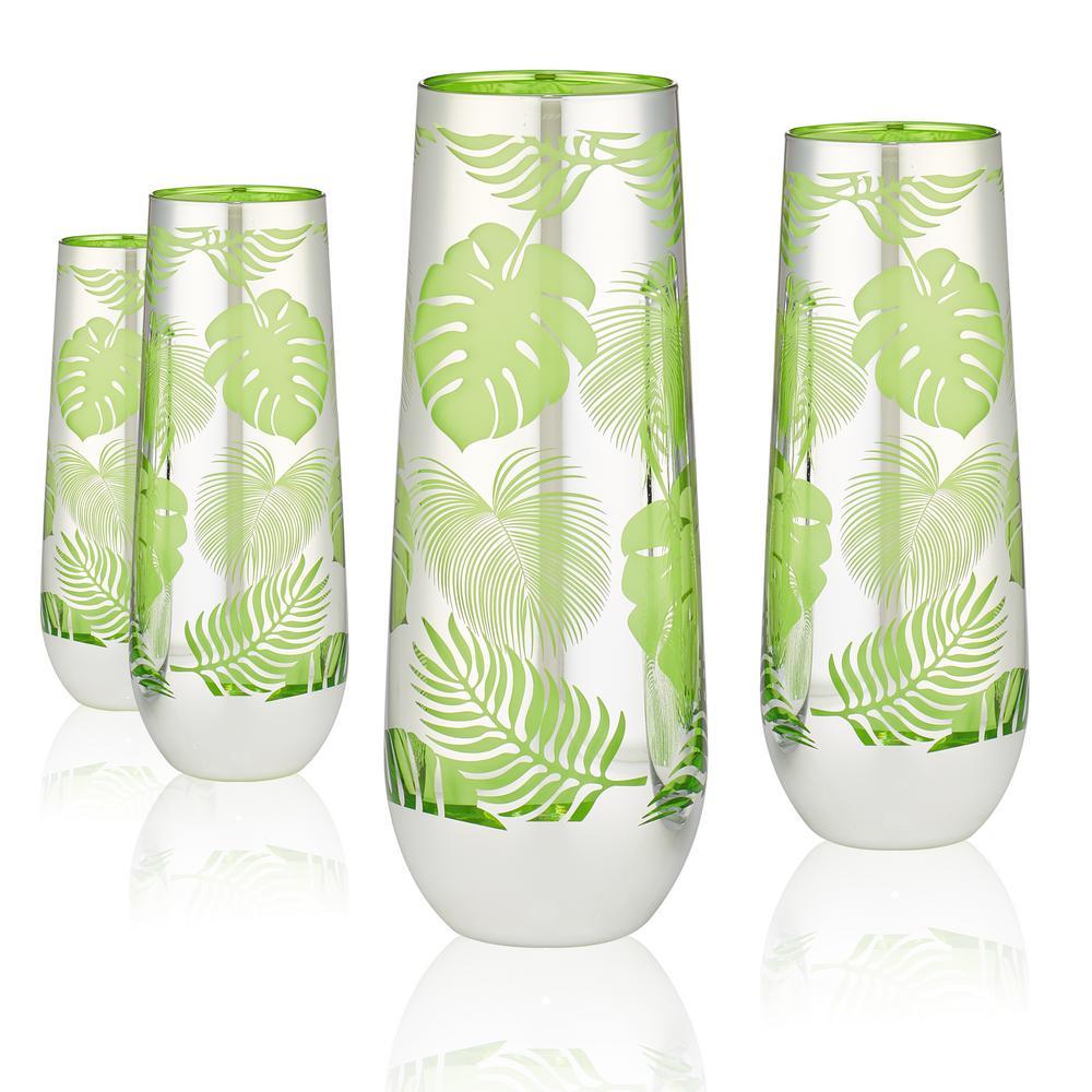 Tropical Leaves 9 oz. 4-Piece Stemless Flute Set