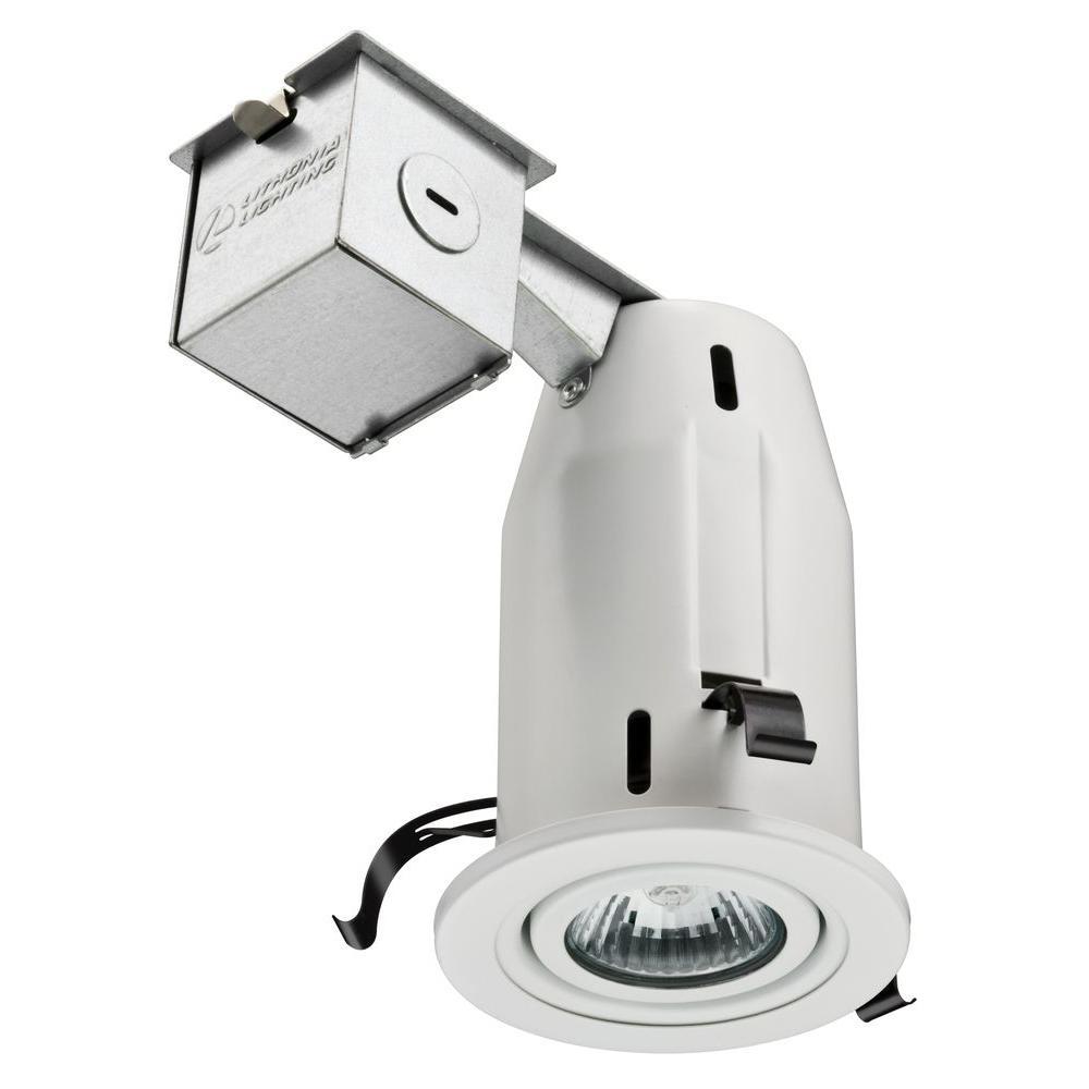 3 in. Matte White Recessed LED Gimbal Lighting Kit