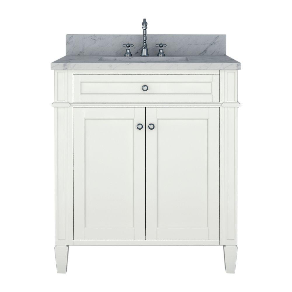 Alya Bath Samantha 30 in. W x 22 in. D Bath Vanity in White with Marble Vanity Top in White with White Basin