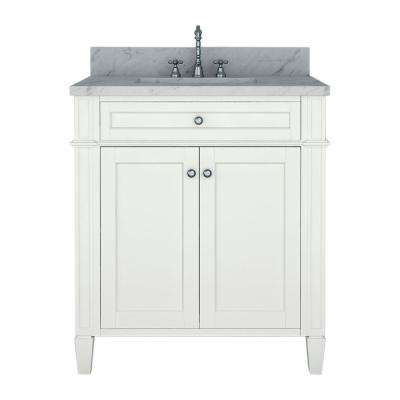 Samantha 30 in. W x 22 in. D Bath Vanity in White with Marble Vanity Top in White with White Basin