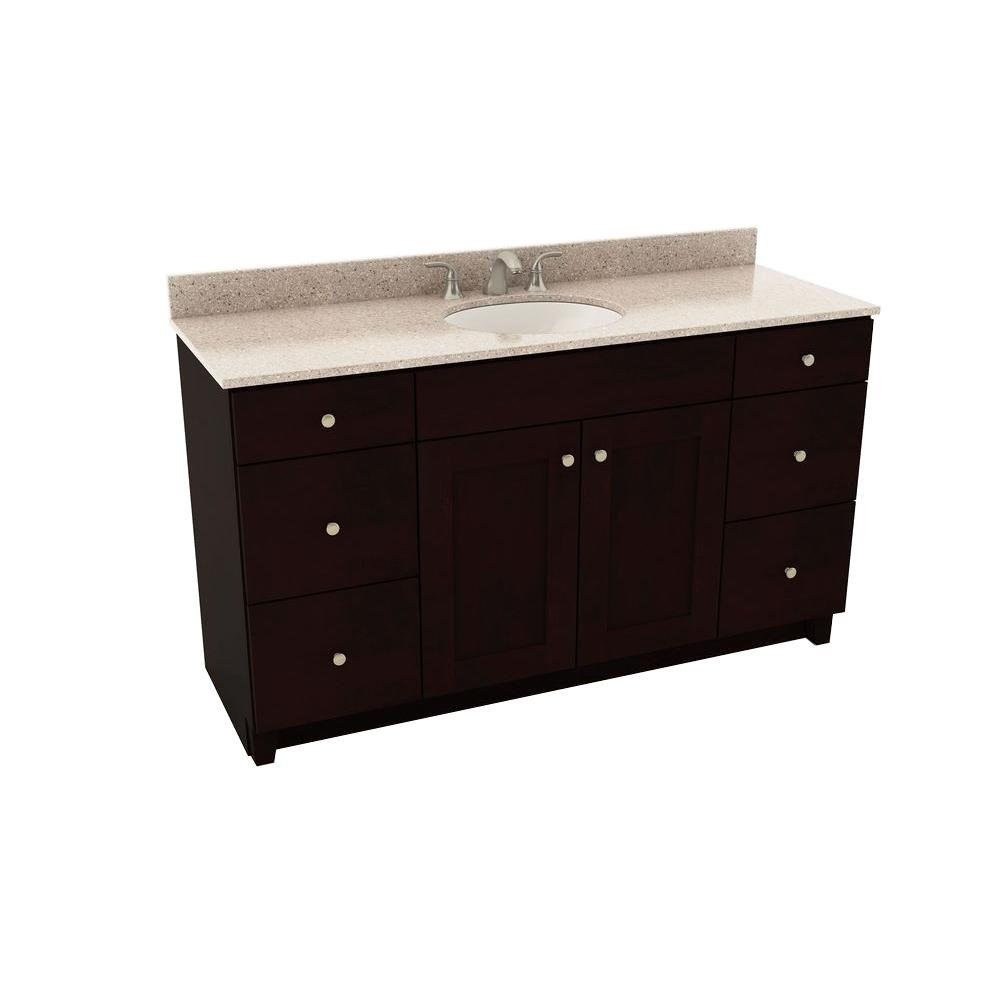 American Woodmark Reading 61 In Vanity In Espresso With