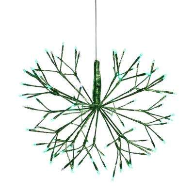 Alpine Corporation Large Christmas Green Snowflake Ornament with LED Lights, Indoor Festive Holiday Décor