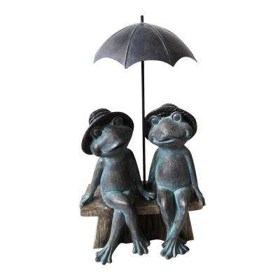 16 in. Tall Sitting Frog Couple Under Umbrella Statue