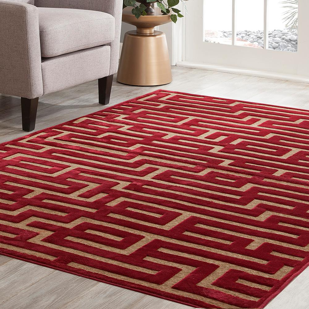 Sams International Napa Maze Red 7 ft. 10 in. x 11 ft. 2 in. Area Rug