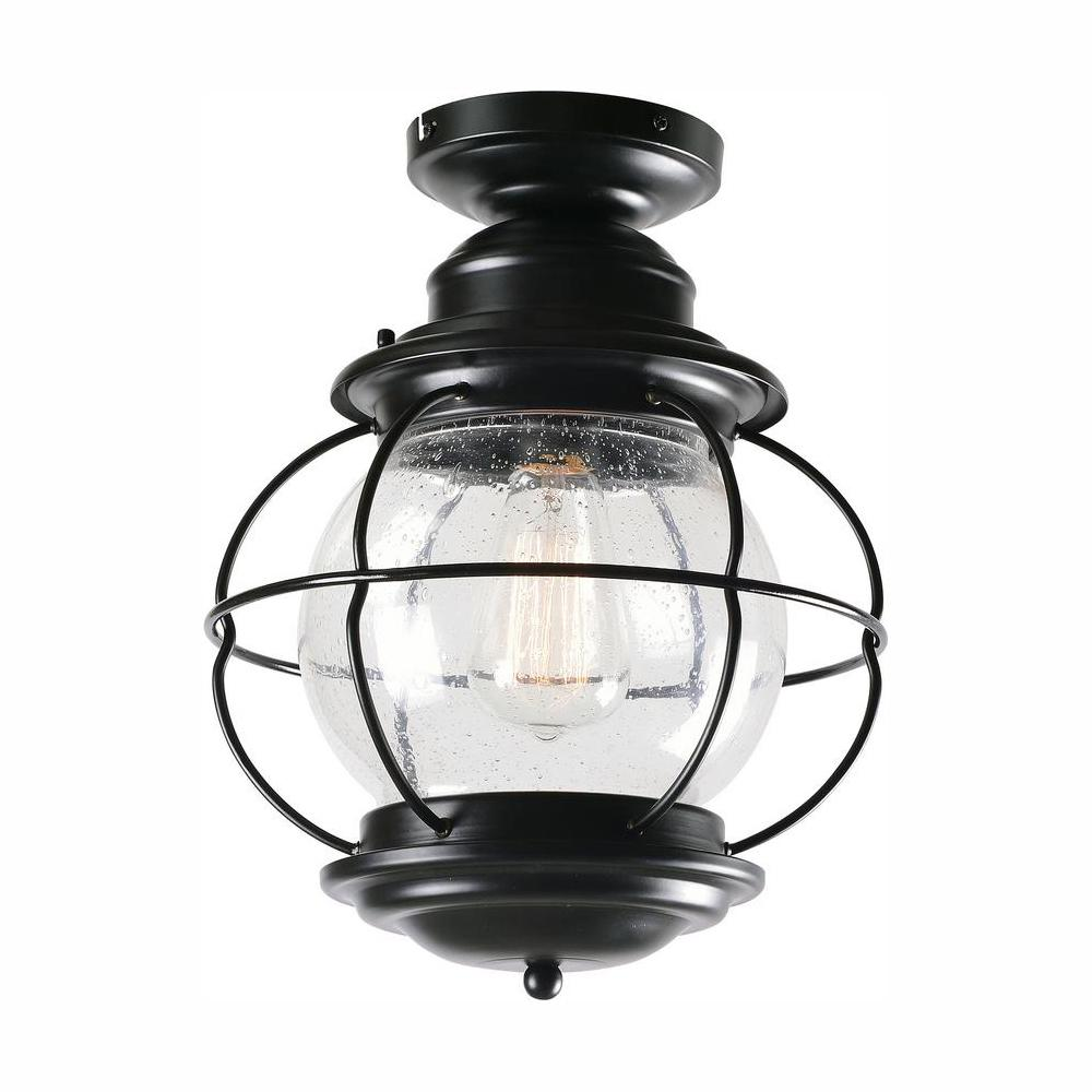 Home Decorators Collection Greer 1-Light Black Outdoor Semi-Flush Mount Lantern with Caged Seeded Glass