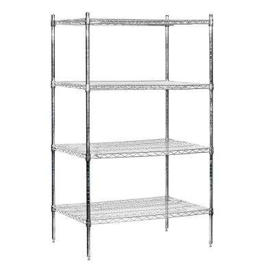 36 in. W x 74 in. H x 24 in. D Industrial Grade Welded Wire Stationary Wire Shelving in Chrome