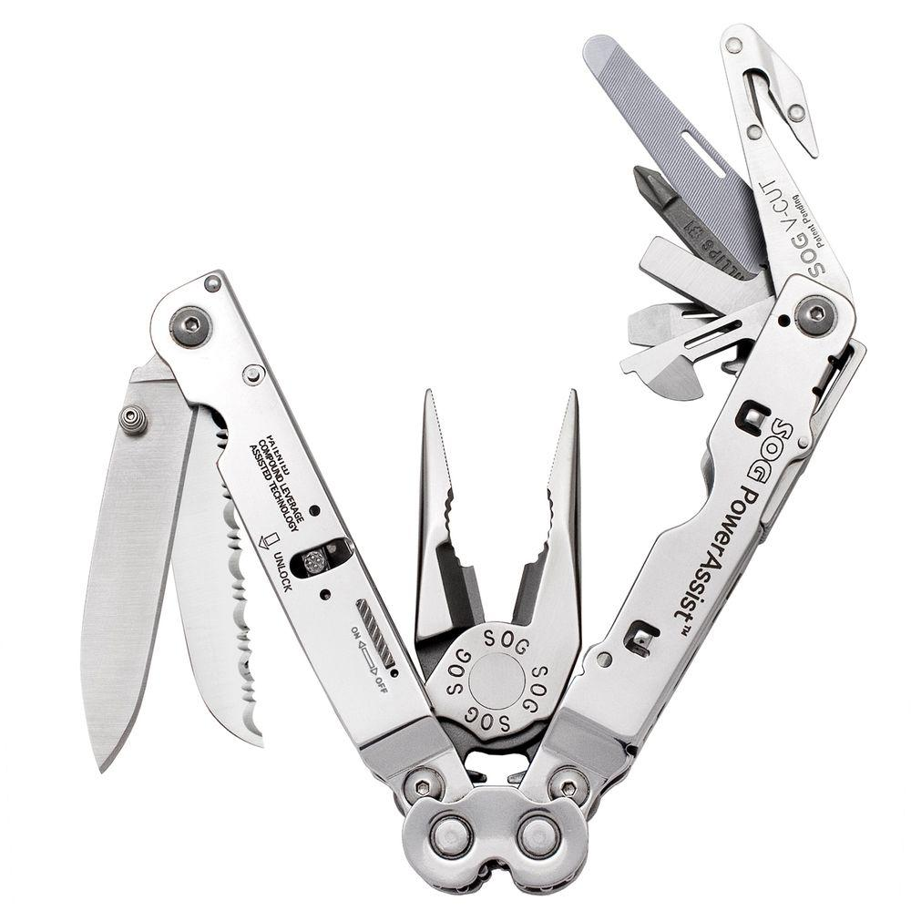 SOG PowerAssist Multi-Tool with Assisted Blades Satin Finish 7 in. Overall Length