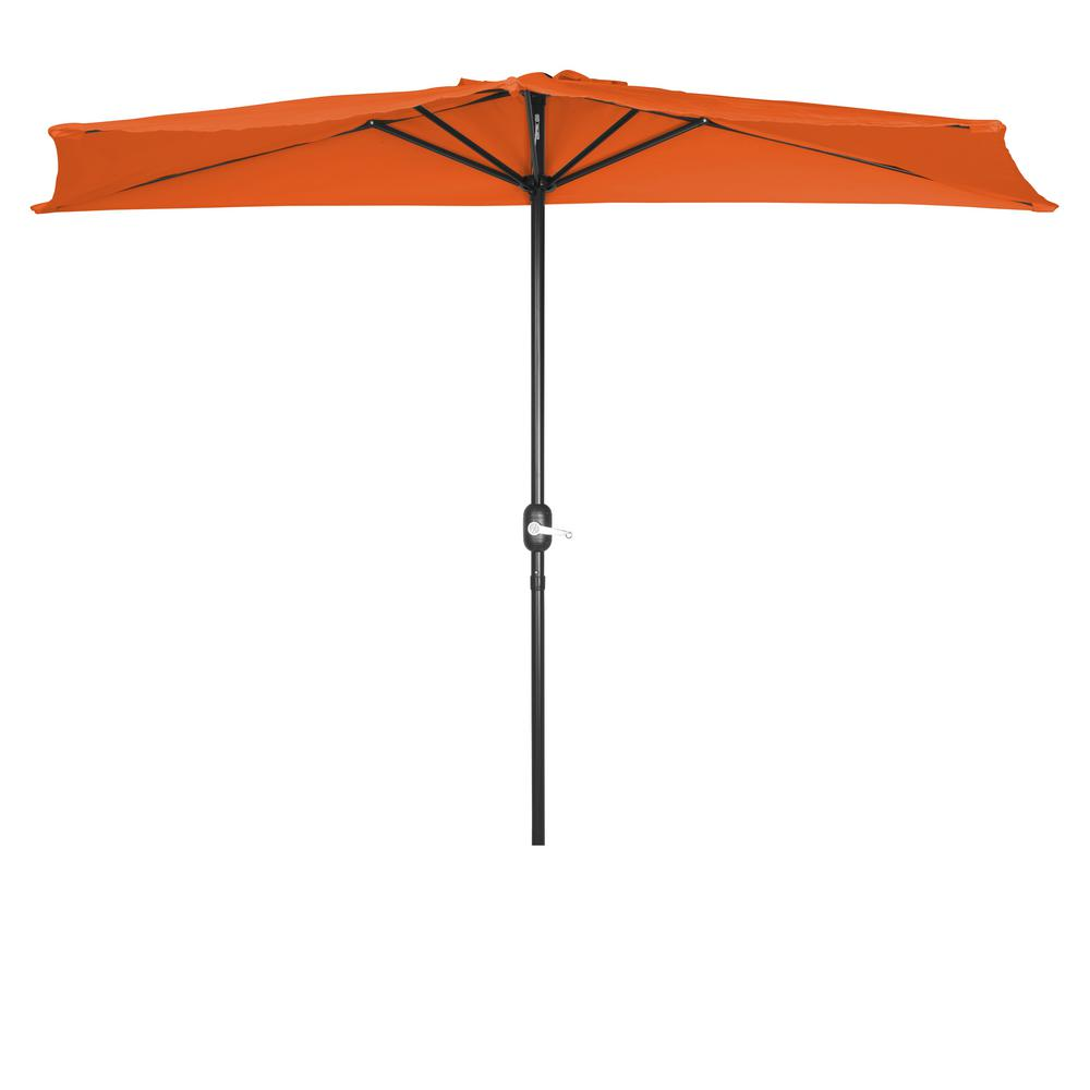 Trademark Innovations 9 ft. Half Patio Umbrella in Orange
