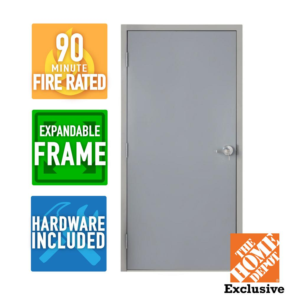 Armor Door 36 in. x 80 in. Fire-Rated Right-Hand Unfinished Steel Commercial Door Slab with Adjustable Frame