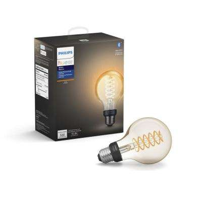 White G25 LED 40W Equivalent Dimmable Wireless Edison Smart Light Bulb with Bluetooth