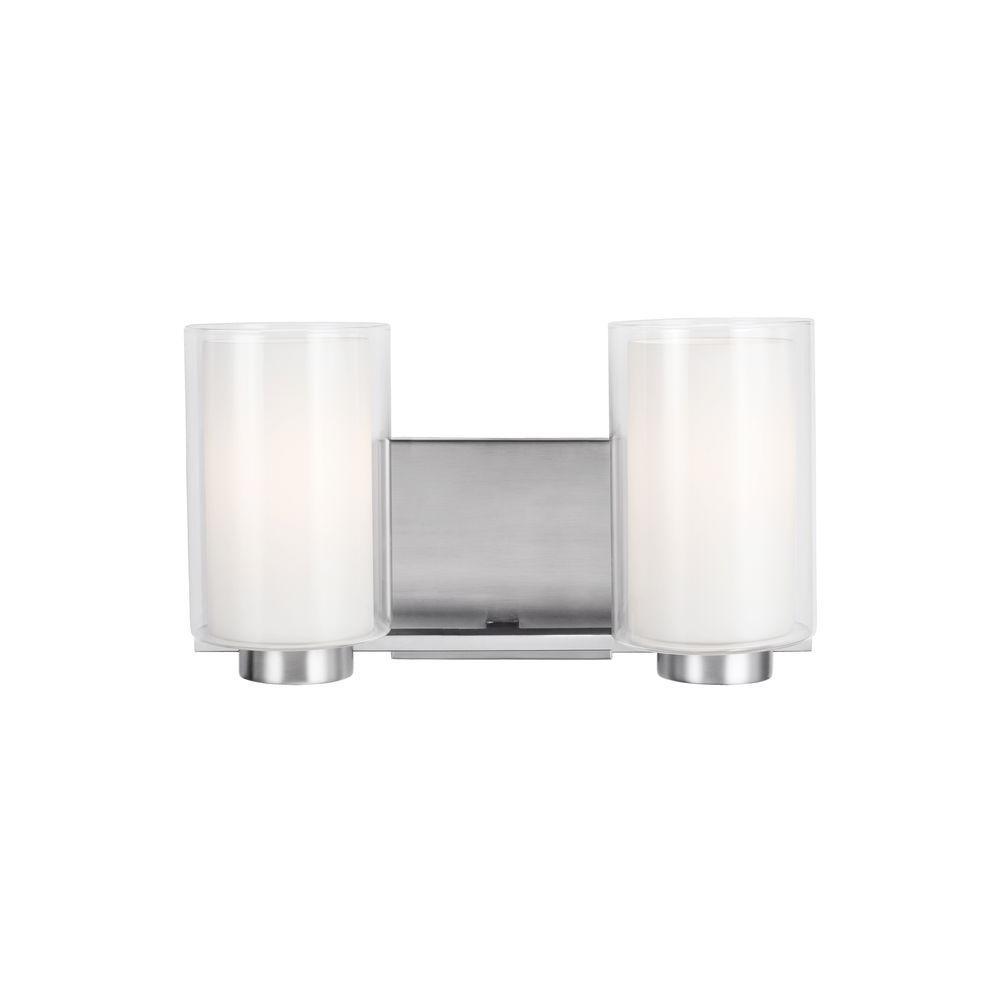 Bergin 2-Light Satin Nickel Wall Bath Light