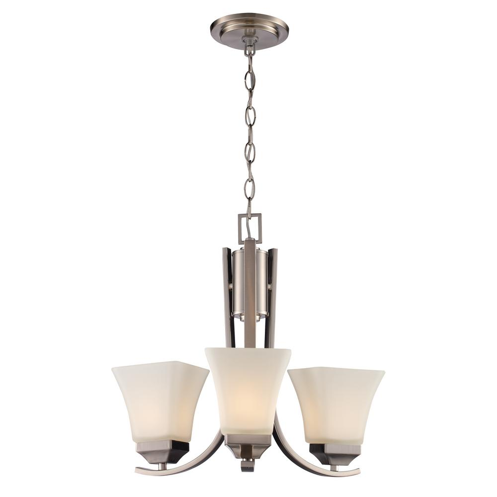 Cameo 3 Light Brushed Nickel Chandelier With Frosted Glass Shades