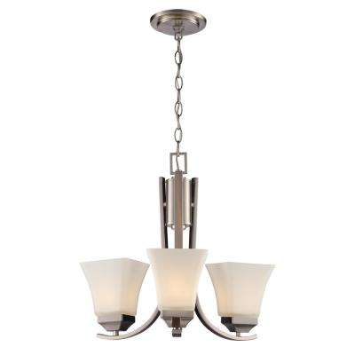 Cameo 3-Light Brushed Nickel Chandelier with Frosted Glass Shades