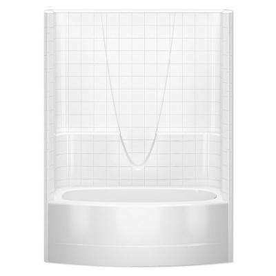 Everyday Smooth Tile 60 in. x 36-1/4 in. to 42 in. x 77-1/4 in. 1-Piece Bath and Shower Kit with Right Drain in White