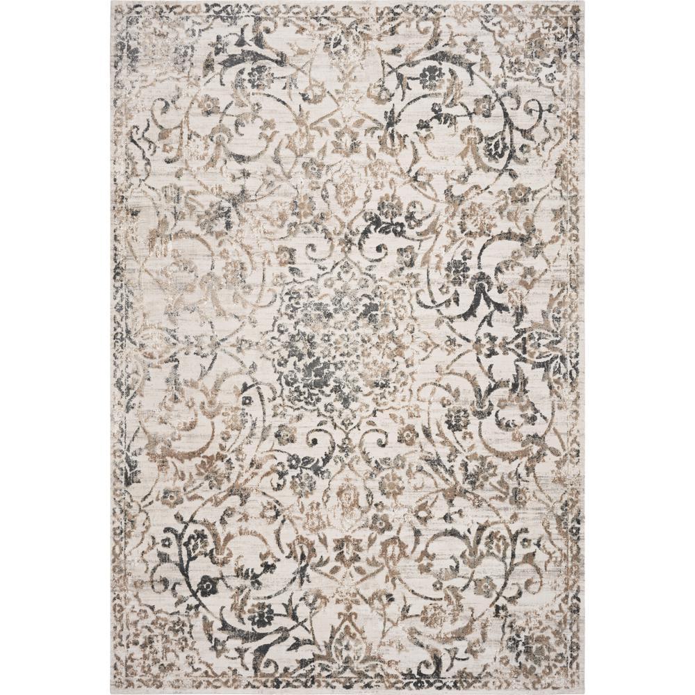 Empire Ivory/Grey Elegance 9 ft. x 13 ft. Vintage Floral Area Rug