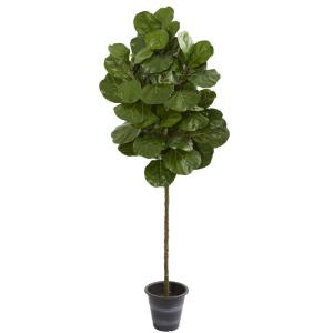 Indoor 6.5-Ft. Fiddle Leaf Artificial Tree With Decorative Planter