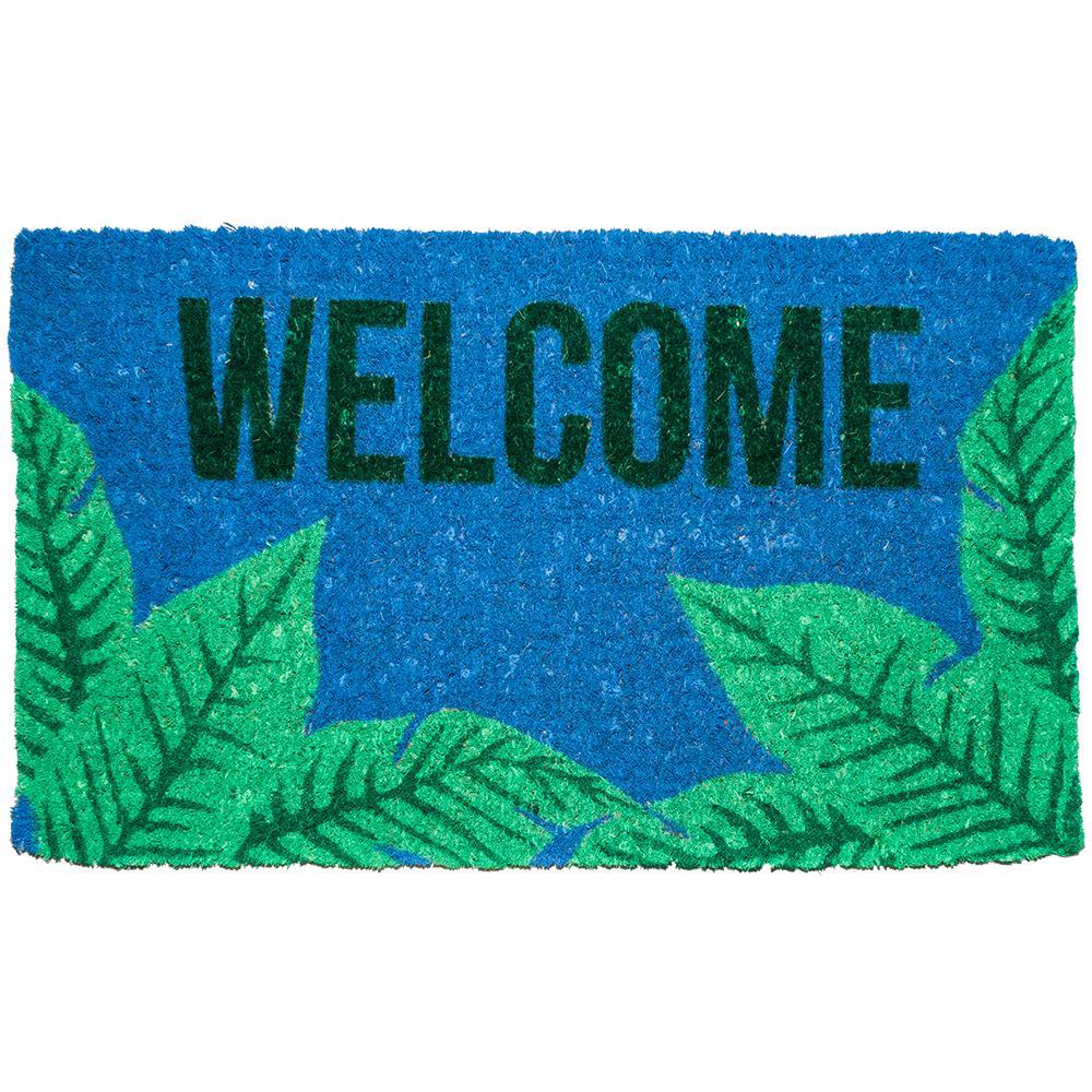 Palms Welcome 18 in. x 30 in. Hand Woven Coconut Fiber Door Mat, Light Blue/Light Green