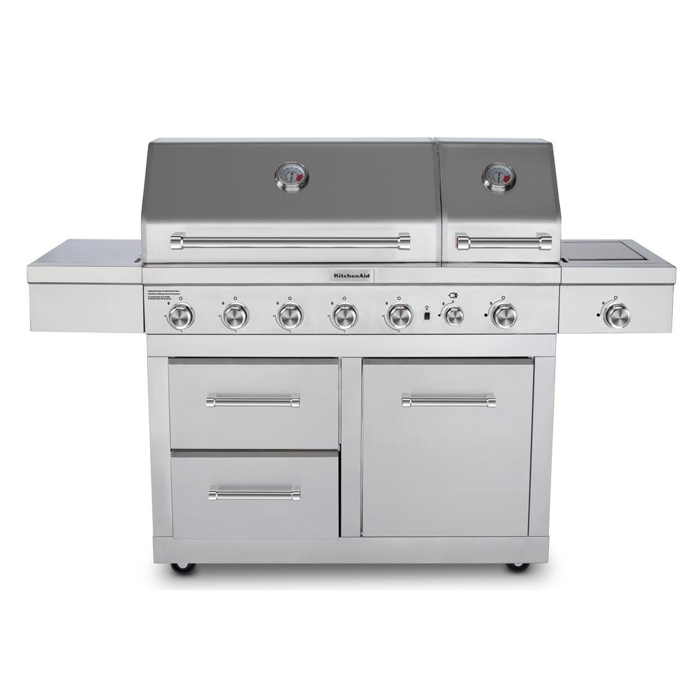 KitchenAid 6-Burner Dual Chamber Propane Gas Grill in Stainless Steel with  Side Burner