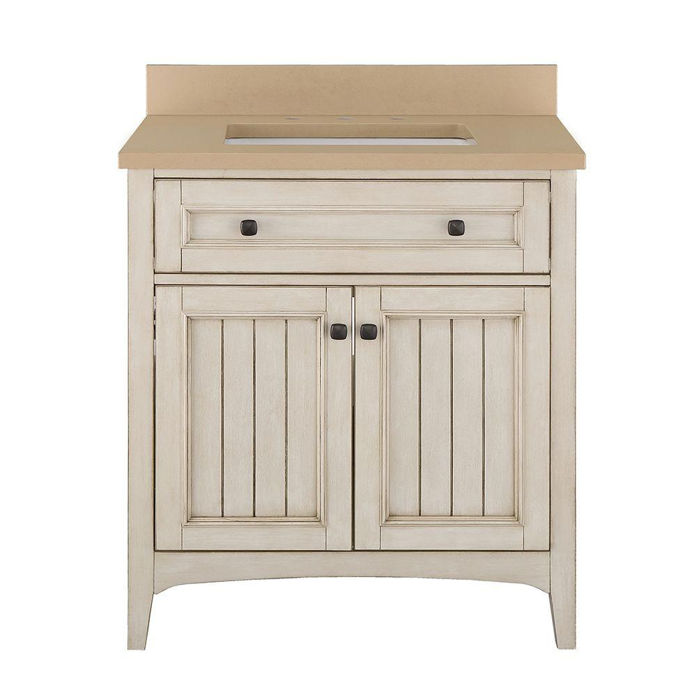 Home Decorators Collection Klein 31 in. W x 22 in. D Bath Vanity in Antique White with Quartz Vanity Top in Beige