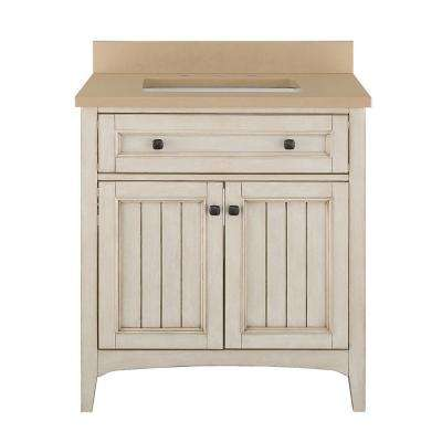 Klein 31 in. W x 22 in. D Bath Vanity in Antique White with Quartz Vanity Top in Beige