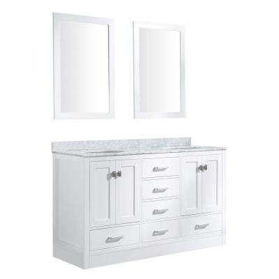 Chateau 60 in. W x 36 in. H Skirted Bath Vanity in White with Vanity Top in Carrara White with White Basins and Mirrors