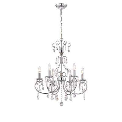 Kothari 6-Light Chrome Chandelier with Hanging Crystals