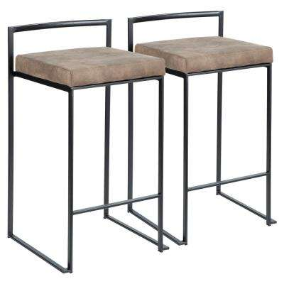 Fuji 26 in. Black Stackable Counter Stool with Brown Cowboy Fabric Cushion (Set of 2)