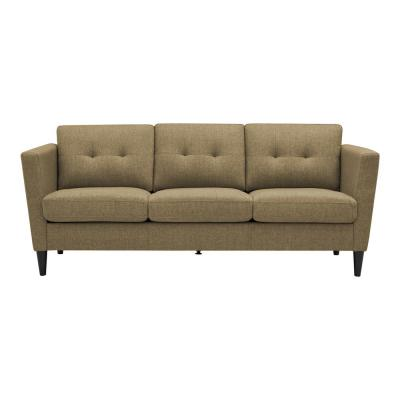 Chelsea Squared in Renu Performance Tested Latte Tan Textured Fabric with USB and Power Ports  Arm Sofa