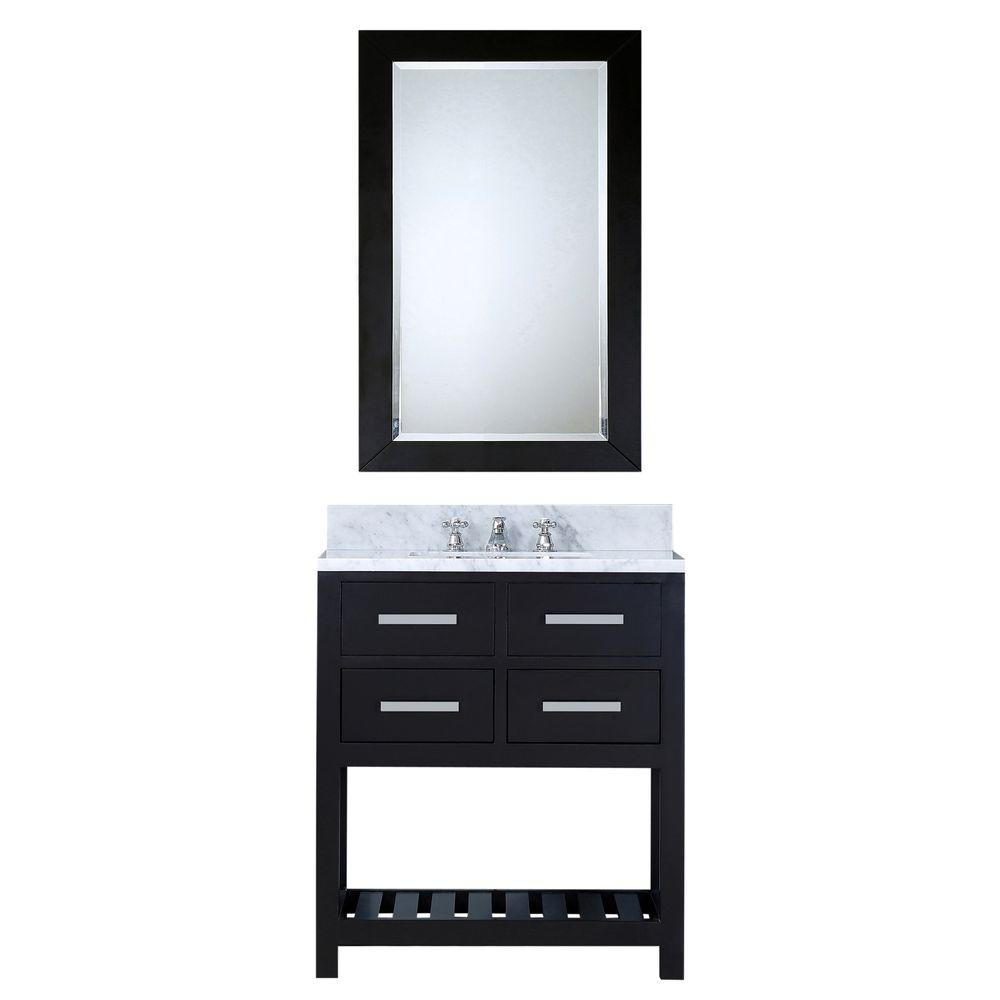 Water Creation 30 in. W x 21.5 in. D Vanity in Espresso with Marble Vanity Top in Carrara White, Mirror and Chrome Faucet