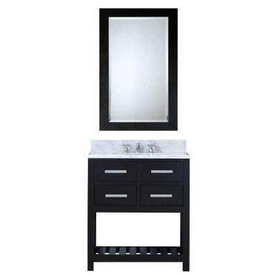 30 in. W x 21.5 in. D Vanity in Espresso with Marble Vanity Top in Carrara White, Mirror and Chrome Faucet
