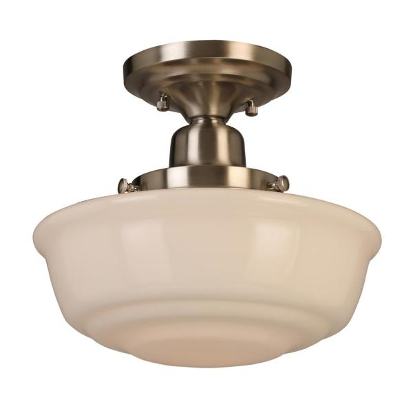 10.5 in. 1-Light Schoolhouse Brushed Nickel Semi-Flush Mount