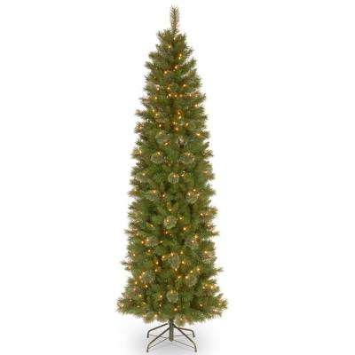 9 ft. Tacoma Pine Pencil Slim Artificial Christmas Tree with Clear Lights