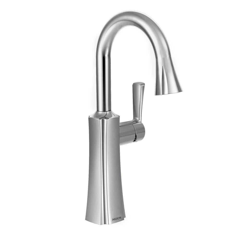 MOEN Etch Single-Handle Bar Faucet with Pull-Down Sprayer with Power Clean in Chrome