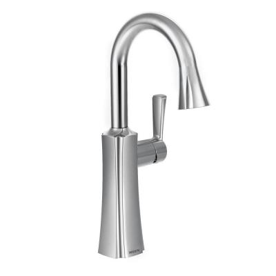 Etch Single-Handle Bar Faucet with Pull-Down Sprayer with Power Clean in Chrome
