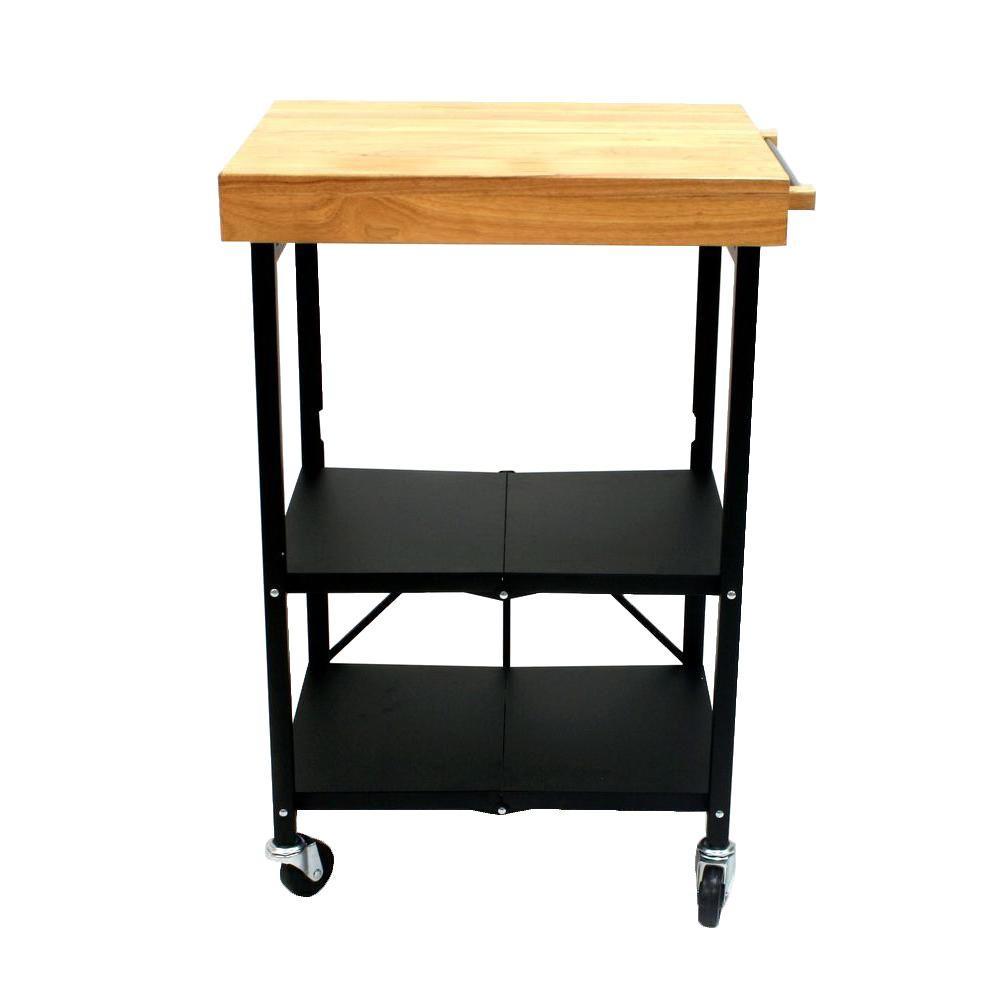 26 in. W Foldable Kitchen Cart in Black