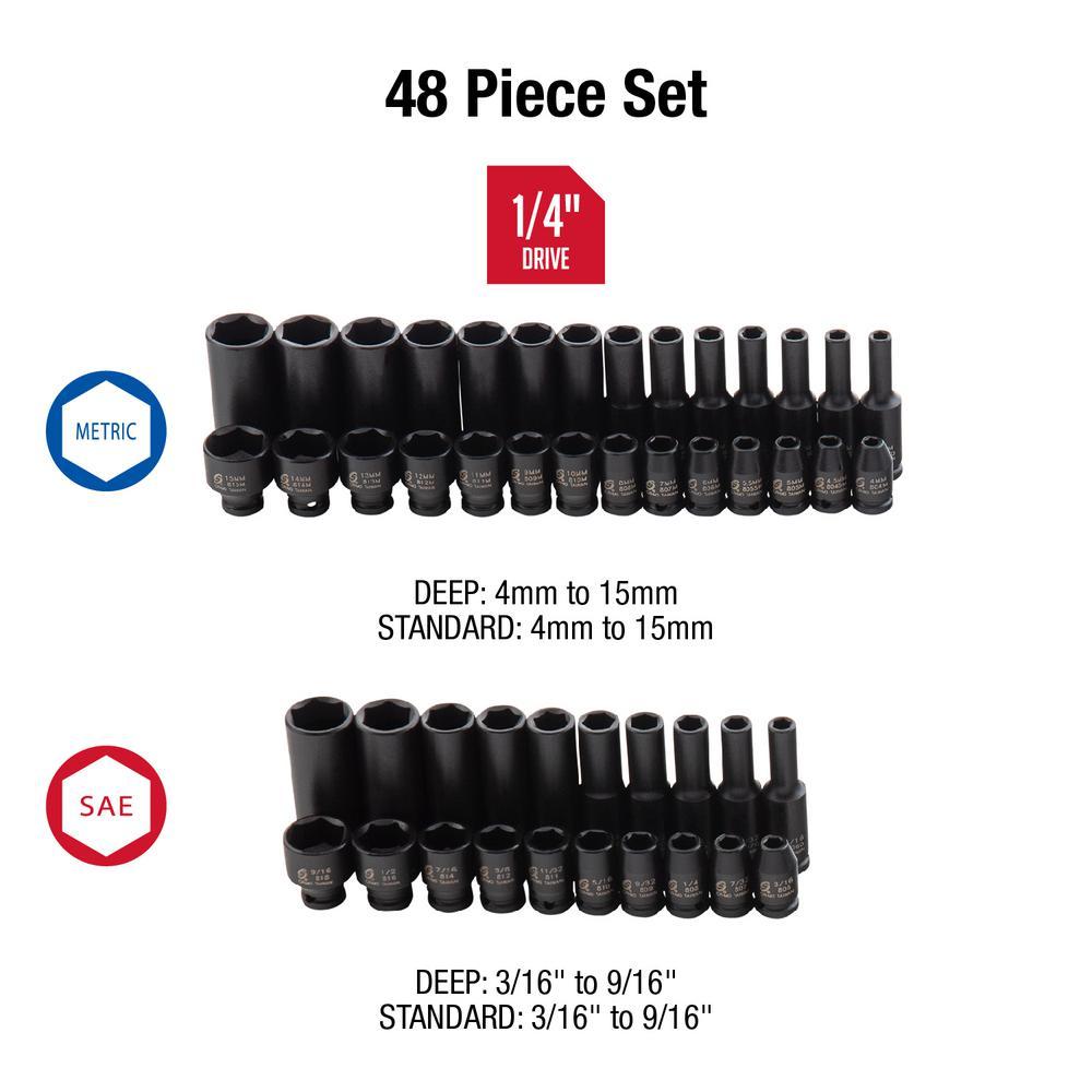 "48 Piece 1//4/"" Drive Impact Socket Master Set SUNEX 1848"