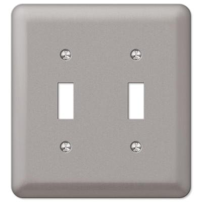 Declan 2 Gang Toggle Steel Wall Plate - Pewter