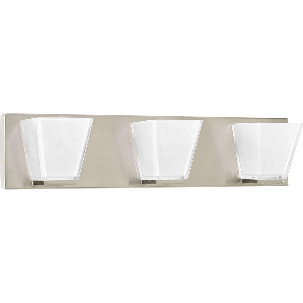 Progress Lighting Streaming Collection 3-Light Brushed Nickel Bathroom Vanity Light