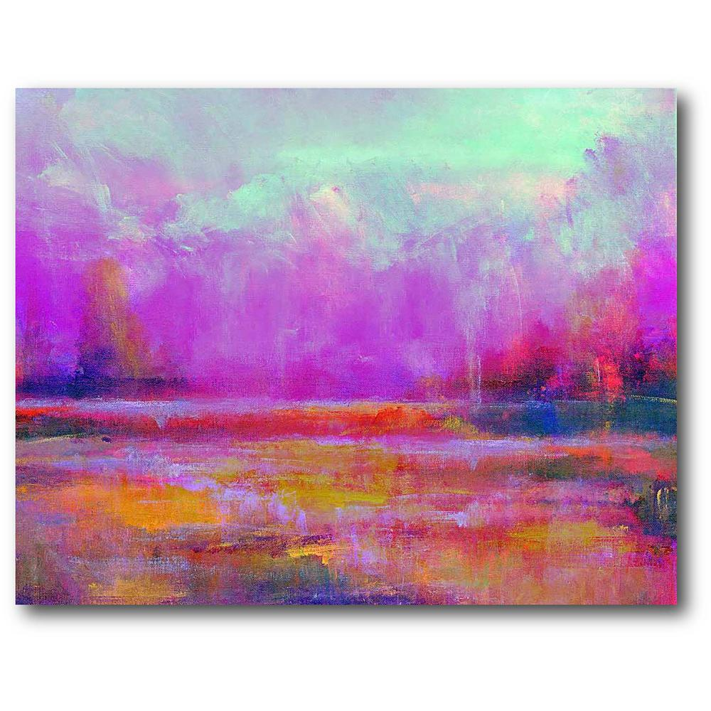 Courtside Market Fuchsia Landscape Wrapped Gallery-Wrapped Canvas Wall Art 20 in. x 16 in., Multi Color was $70.0 now $38.93 (44.0% off)