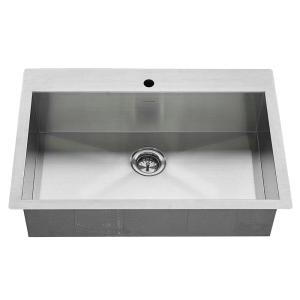 American Standard Edgewater Zero Radius Dual Mount Stainless Steel 33 inch 1-Hole Single Basin Kitchen Sink Kit by American Standard