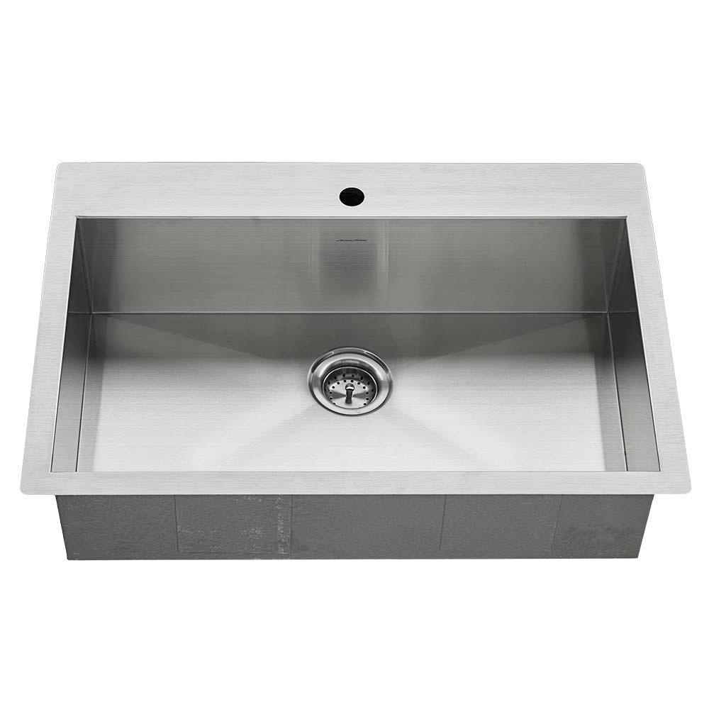 Edgewater Zero Radius Dual Mount Stainless Steel 33 in. 1-Hole Single Bowl Kitchen Sink Kit