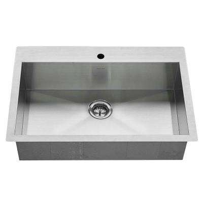 Edgewater Zero Radius Dual Mount Stainless Steel 33 in. 1-Hole Single Bowl Kitchen Sink Kit