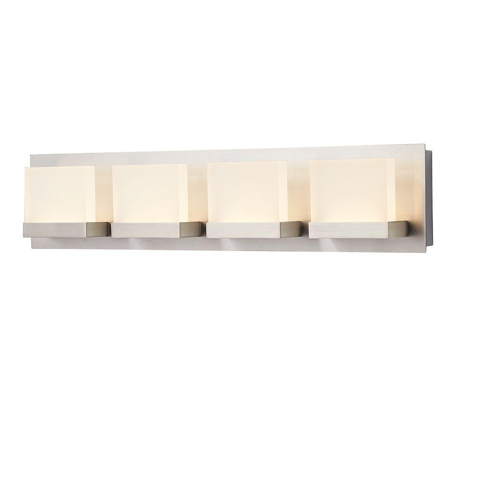 Led vanity lighting lighting the home depot alberson collection 4 light brushed nickel led vanity light with frosted acrylic shade aloadofball Image collections