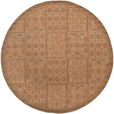 Courtyard Gold/Natural 7 ft. x 7 ft. Indoor/Outdoor Round Area Rug
