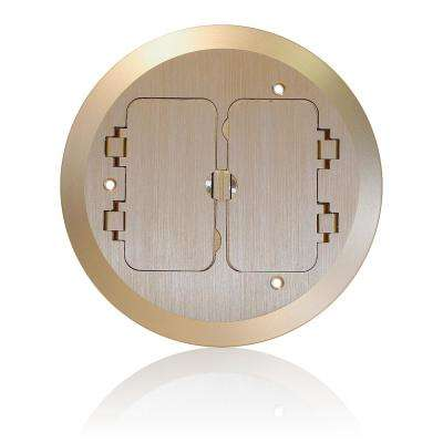Concrete Floor Box Brass Cover Plate, 2 Duplex Screw Caps and 1 Data Cap