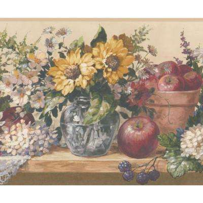 White Yellow Blue Flowers in Pots Blueberry Apple on Kitchen Table Vintage Prepasted Wallpaper Border