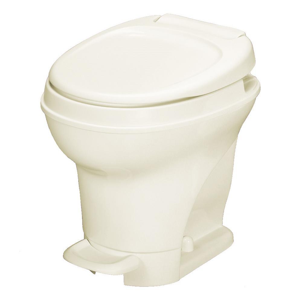Aqua-Magic V 10 in. Rough-in 1-Piece .06 GPF Single Flush Foot Flush Round RV Toilet in Parchment